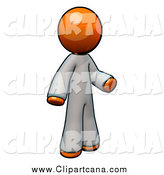 Clip Art of a 3d Orange Doctor Wearing White Coveralls by Leo Blanchette