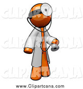 Clip Art of a 3d Orange Doctor with a Stethoscope Wearing a Jacket and Head Mirror by Leo Blanchette