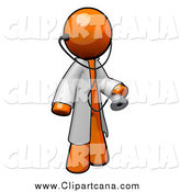August 9th, 2014: Clip Art of a 3d Orange Doctor with a Stethoscope Wearing a Jacket by Leo Blanchette