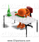 Clip Art of a 3d Orange Employee Crying at a Desk by Ralf61