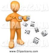 Clip Art of a 3d Orange Gambling Man Tossing Dice by 3poD