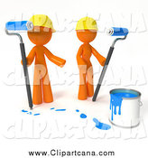 Clip Art of a 3d Orange Guy and Gal Painting with Blue Paint by Leo Blanchette
