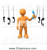 August 24th, 2014: Clip Art of a 3d Orange Guy Answering an Important Call by 3poD