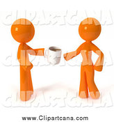Clip Art of a 3d Orange Guy Giving a Woman Coffee by Leo Blanchette