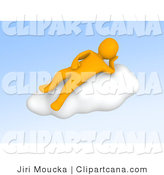 Clip Art of a 3d Orange Guy Resting on a Cloud by Jiri Moucka
