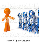 Clip Art of a 3d Orange Leader Speaking to a Line of Ao-Maru Robots by Leo Blanchette