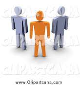 Clip Art of a 3d Orange Leader Standing in Front of Gray Guys by Jiri Moucka