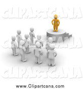 Clip Art of a 3d Orange Leader Standing on a Podium and Speaking to Blanco Men by Jiri Moucka