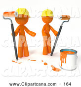 Clip Art of a 3d Orange Man and Woman Painting by Leo Blanchette