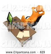 Clip Art of a 3d Orange Man Being Lazy at an Office Desk by 3poD