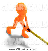 Clip Art of a 3d Orange Man Bending and Pulling a Rope by Ralf61