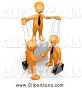 Clip Art of a 3d Orange Man Boss Controlling Business Men on Strings by 3poD