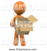 Clip Art of a 3d Orange Man Carrying a Box by Leo Blanchette