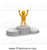 January 19th, 2014: Clip Art of a 3d Orange Man Cheering on a Platform by Jiri Moucka