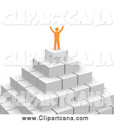 Clip Art of a 3d Orange Man Cheering on a Pyramid by Jiri Moucka