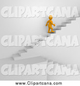 Clip Art of a 3d Orange Man Climbing up Stairs by Jiri Moucka