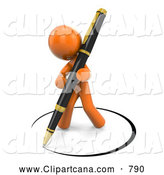 Clip Art of a 3d Orange Man Drawing a Circle of Ink Around Himself with a Pen by Leo Blanchette
