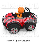 Clip Art of a 3d Orange Man Driving a Red Buggy Sports Car by Leo Blanchette