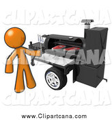 Clip Art of a 3d Orange Man Grilling Steaks on a Bbq Grill by Leo Blanchette
