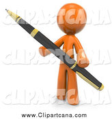 Clip Art of a 3d Orange Man Holding a Ballpoint Business Pen by Leo Blanchette