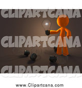 Clip Art of a 3d Orange Man Holding an Illuminated Bulb over Bulbs on the Floor by Leo Blanchette