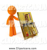 Clip Art of a 3d Orange Man Holding up a Credit Card Rat Trap by Leo Blanchette