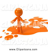 Clip Art of a 3d Orange Man in a Spill of Paint by Leo Blanchette