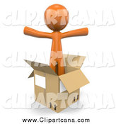 Clip Art of a 3d Orange Man in an Empty Moving Box by Leo Blanchette