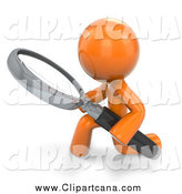 Clip Art of a 3d Orange Man Kneeling and Using a Magnifying Glass by Leo Blanchette