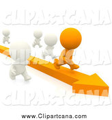 August 31st, 2014: Clip Art of a 3d Orange Man Running on an Arrow past White People by