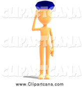 Clip Art of a 3d Orange Man Saluting by Ralf61