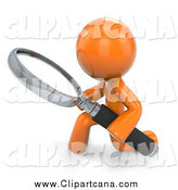 Clip Art of a 3d Orange Man Searching and Kneeling with a Magnifying Glass by Leo Blanchette