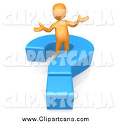Clip Art of a 3d Orange Man Shrugging in a Blue Question Mark by 3poD
