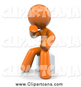 Clip Art of a 3d Orange Man Sitting in Thought by Leo Blanchette