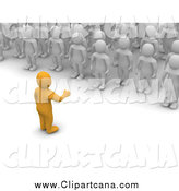 Clip Art of a 3d Orange Man Speaking to a Crowd of White Men by Jiri Moucka