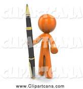 Clip Art of a 3d Orange Man Standing a Pen by Leo Blanchette