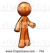 Clip Art of a 3d Orange Man Standing and Gesturing by Leo Blanchette