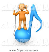 Clip Art of a 3d Orange Man Standing on a Blue Music Note and Wearing Headphones by 3poD