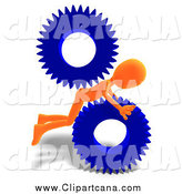 Clip Art of a 3d Orange Man Stuck in Gears by Ralf61