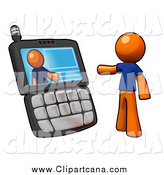 Clip Art of a 3d Orange Man Video Chatting on a Phone by Leo Blanchette