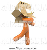 Clip Art of a 3d Orange Man Walking Around with a Box over His Head by Leo Blanchette
