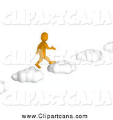 Clip Art of a 3d Orange Man Walking on Cloud Steps by Jiri Moucka