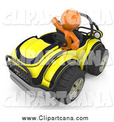 Clip Art of a 3d Orange Man Waving and Driving a Yellow Buggy Sports Car by Leo Blanchette