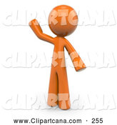 Clip Art of a 3d Orange Man Waving by Leo Blanchette
