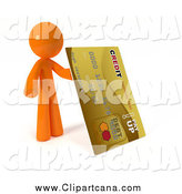 Clip Art of a 3d Orange Man with a Giant Gold Credit Card by Leo Blanchette