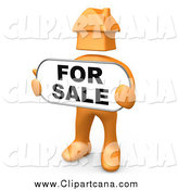 Clip Art of a 3d Orange Man with a House Head, Holding a for Sale Sign by 3poD