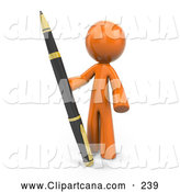 Clip Art of a 3d Orange Man with a Large Pen by Leo Blanchette