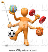Clip Art of a 3d Orange Man with Sports Equipment by 3poD