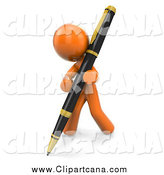 Clip Art of a 3d Orange Man Writing with a Large Pen by Leo Blanchette