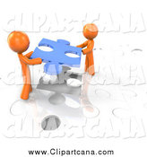 Clip Art of a 3d Orange Men Working Together to Complete a Puzzle by Leo Blanchette